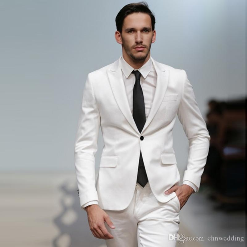 White Wedding Men Suits Slim Fit Groom Wear Tuxedos 2 Pieces (Jacket+Pants) Casual Prom Best Man Blazer