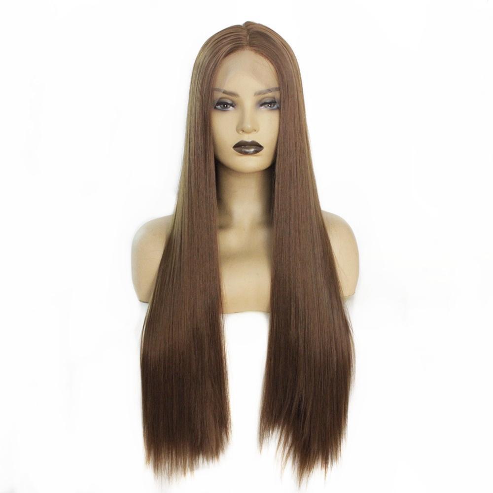 Brown Cor 8 # longa reta de seda sintética cabelo calor resistente Lace cabelo Frente perucas para mulheres de meia Parte 24 polegadas