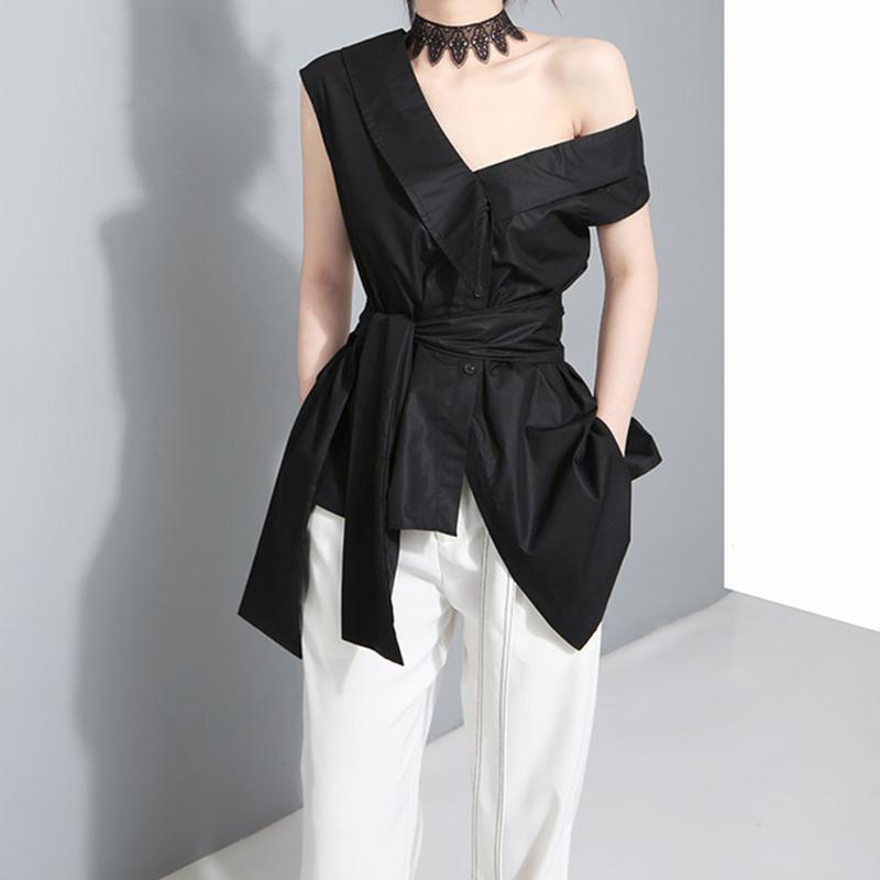 TWOTWINSTYLE Kolsuz Sashes Tunik Kadın Bluz Gömlek Yaz 2017 V Yaka Siyah Haki Düzensiz Gevşek Gömlek Casual Tops