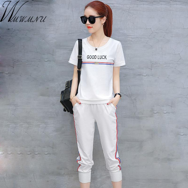 2018 camisola de verão terno ocasional das mulheres roupas 2 peças-top set + calças esportivas terno roupas femininas y19071301