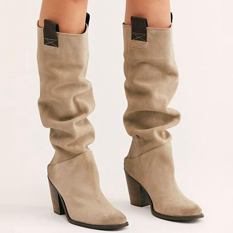 Fashion Winter Women/'s Casual Warm Wedge Heel Suede Mid length Boots Shoes