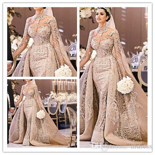 Роскошный элегантный бальное платье Свадебные платья высокой шеи свадебное платье DetachableTrail с длинным рукавом свадебные платья русалка халат де mariée