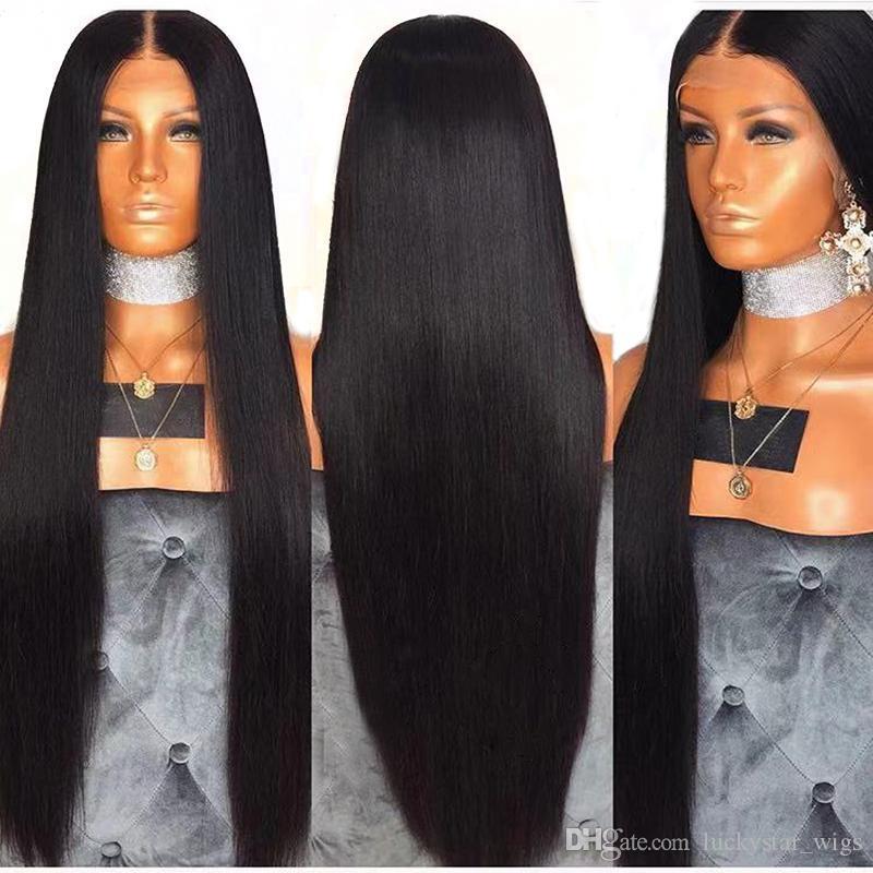 Natürlicher Haaransatz Schwarze Farbe Lange Gerade Perücken Babyhaar Hitzebeständige Weiche Faser Glueless Synthetische Lace Front Perücken Für Schwarze Frauen