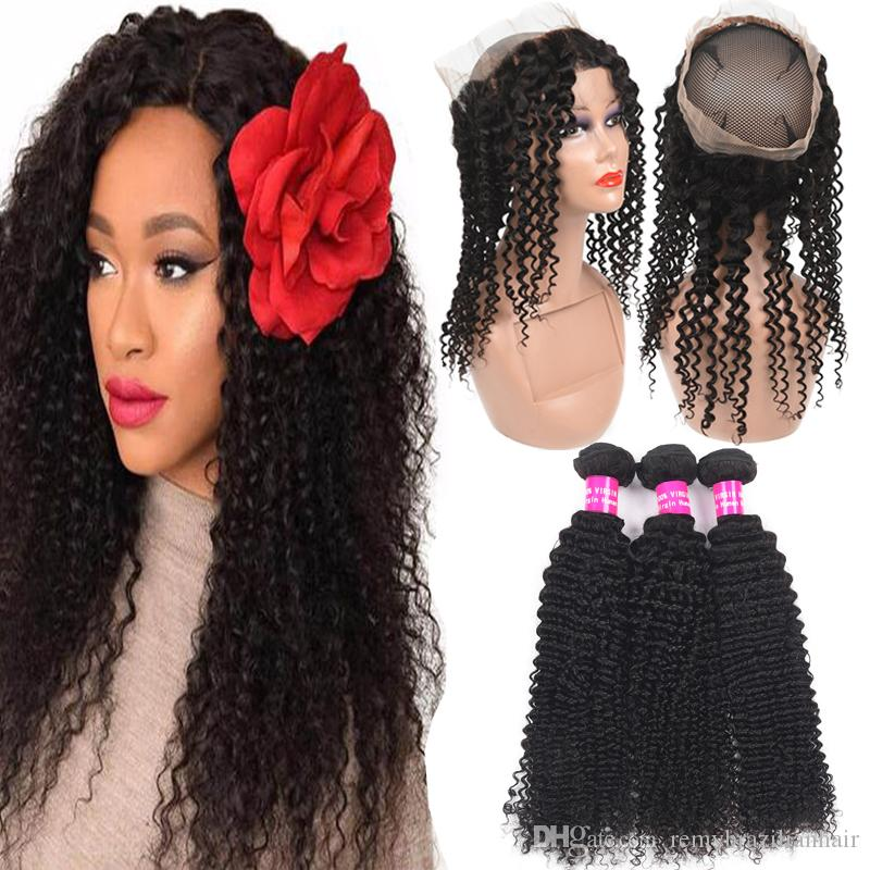 Remy 9A Brazilian Kinky Curly Hair Bundles With 360 Full Lace Closure Deep Water Wave Loose Straight With 360 Full Lace Closure Pre Plucked