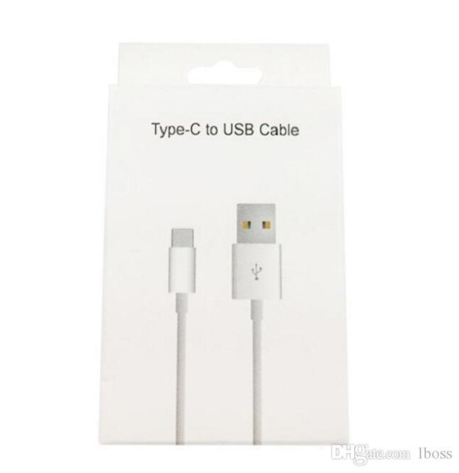 Cavo USB Type-C per Galaxy Nota 7 8 9 Samsung S8 S9 S10 LG G5 Huawei P9 1M-3FT Caricabatterie cellulare tipo C Cavo di ricarica dei dati con scatola al minuto