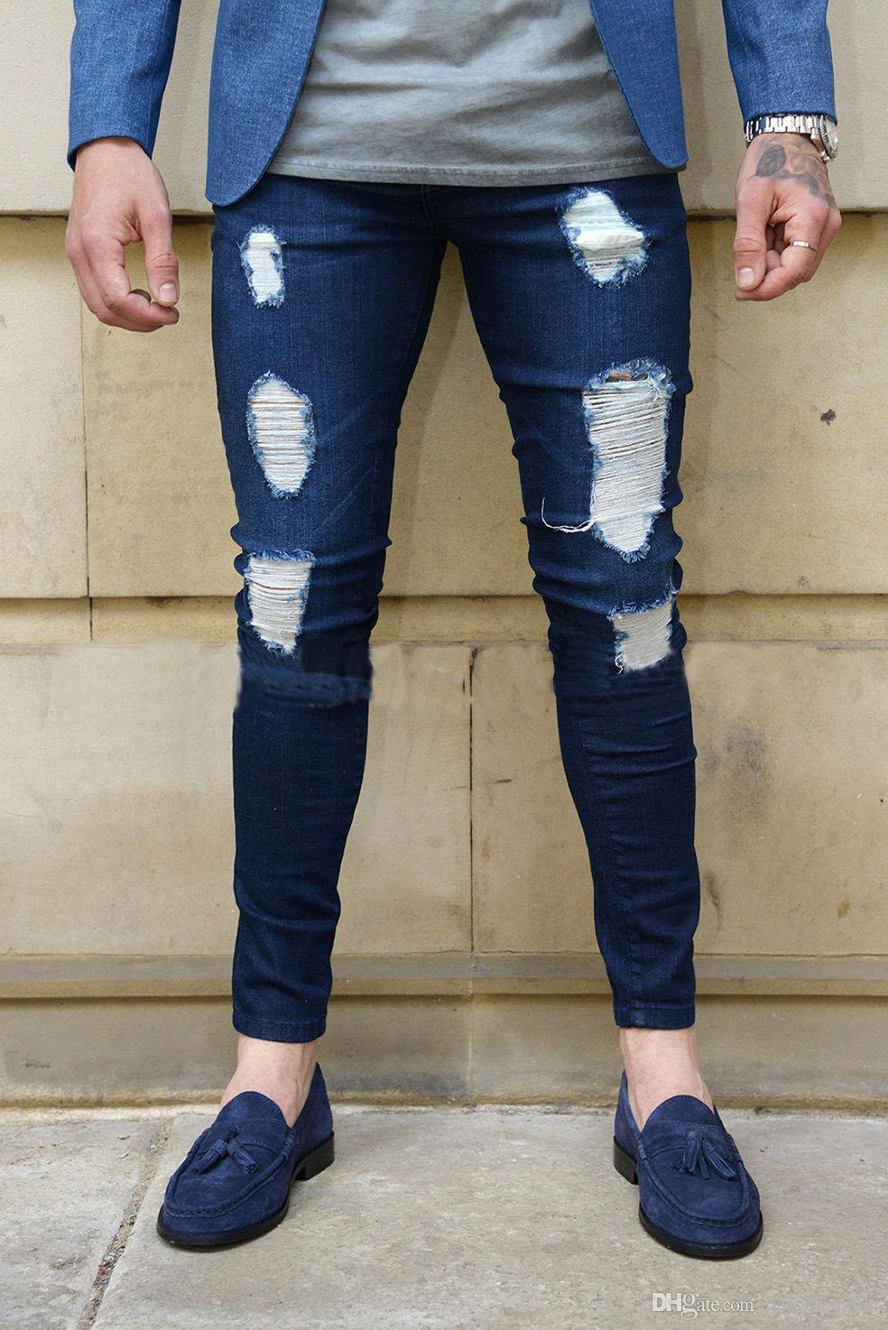 Erkek Skinny Jeans Moda Erkek Sıkı Montaj Pantolon Katı Renk Denim Pantolon Aşınmış