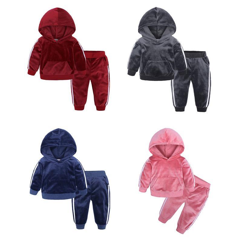 Pudcoco 2PCS 1-5 Anos Criança Bebé Menina roupa de Inverno Set veludo com capuz Tops Calças Roupas quentes