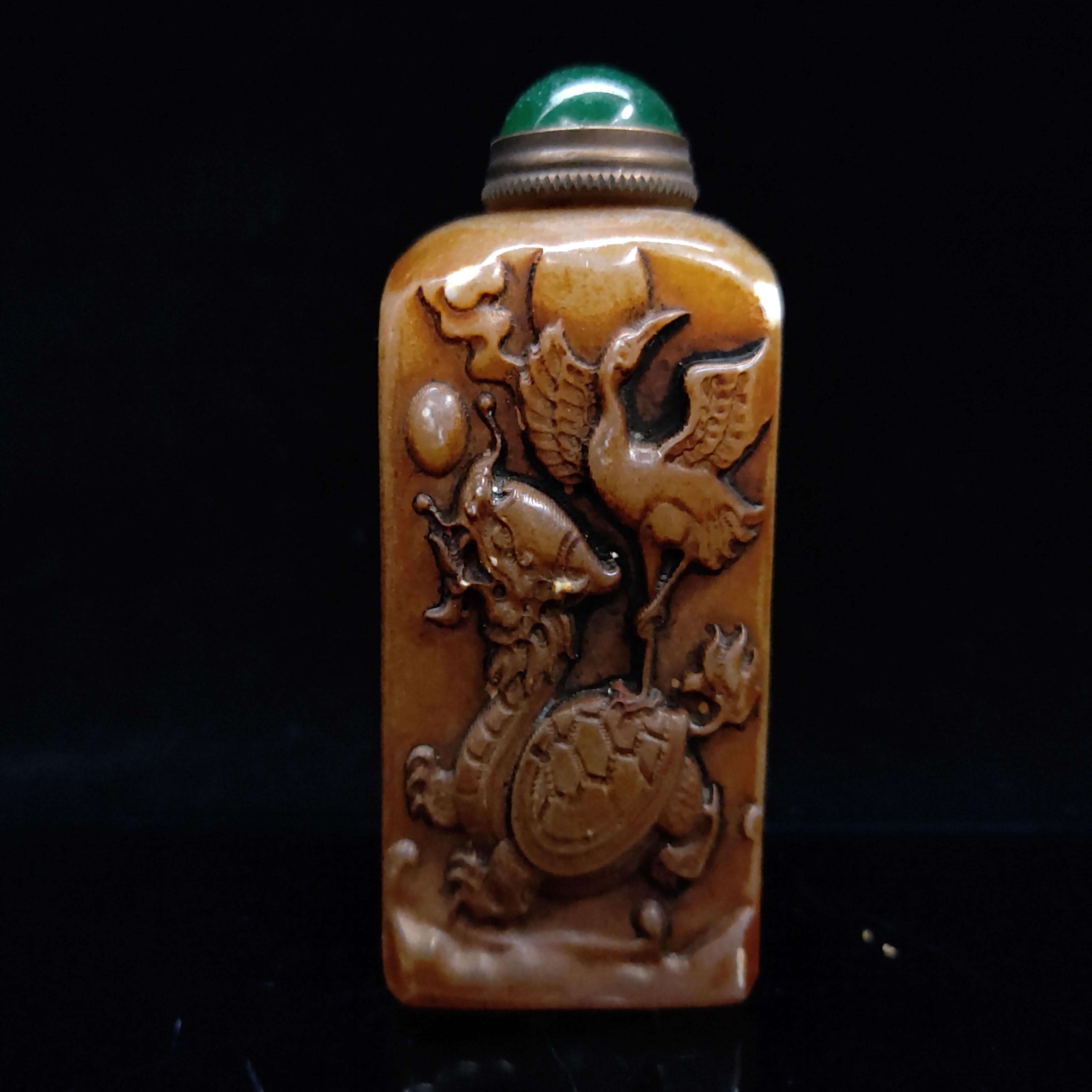 Китайский античный ручной резьбой Шушан камень Snuff бутылки LL071