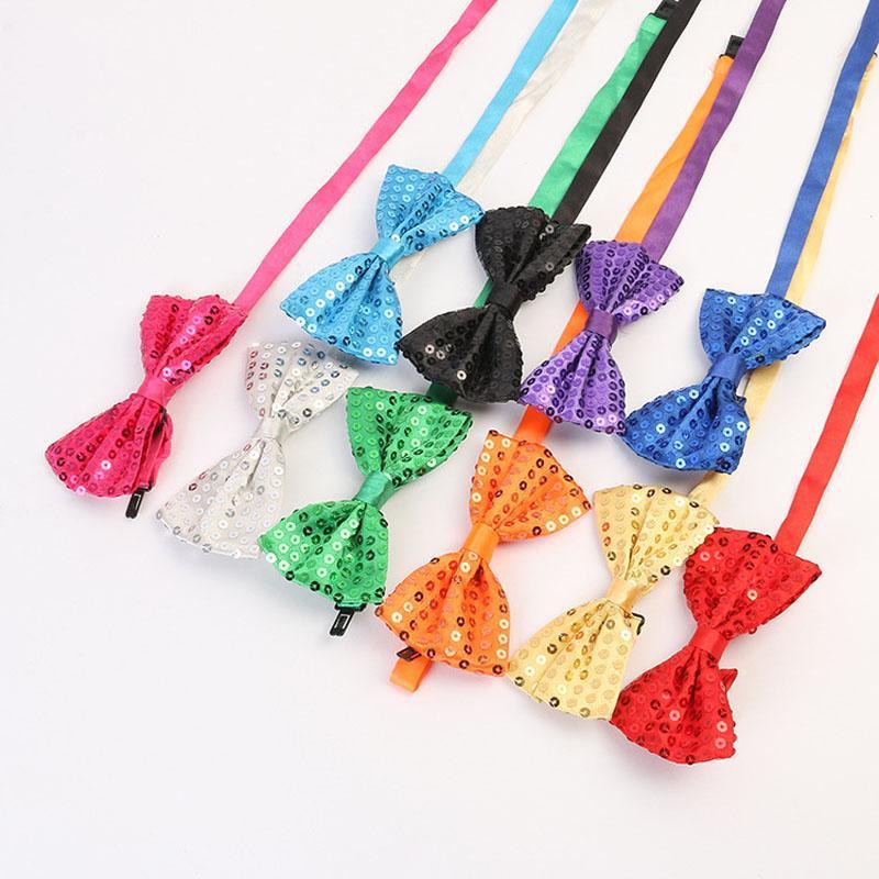 Représentation théâtrale Glitter Sequin Tie Bows Hommes Femmes Garçons Filles Pré Tied Bow Tie Dance Party Costume Déguisements Props ZA5759
