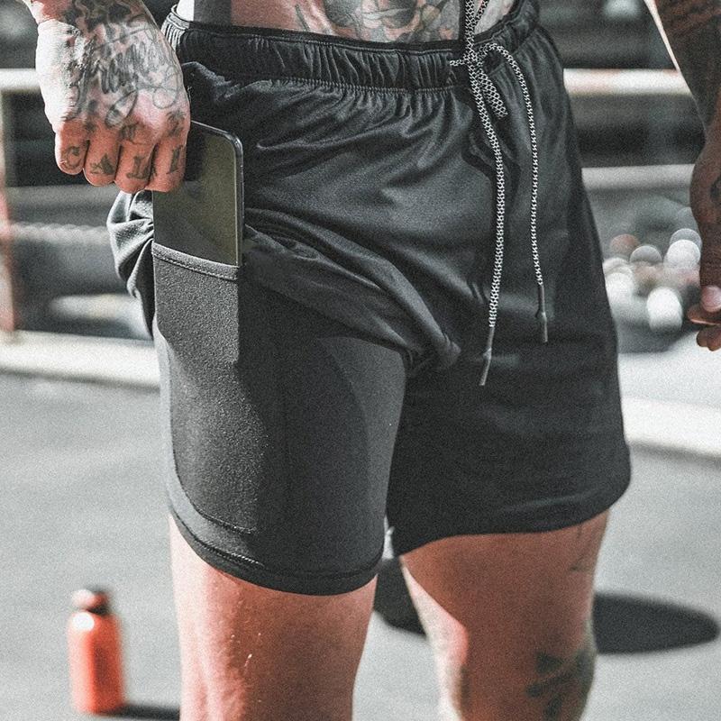 2 em 1 duplo aptidão que funciona Shorts para homens Trainning Ginásio Curto Quick Dry Jogging Calças de compressão leve Plus Size