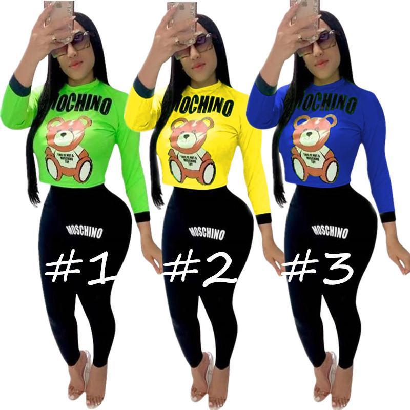 Mos Mektuplar Kadınlar Tasarımcı Eşofman Ayı Karikatür Uzun Kollu mahsul tops kazak + Pantolon Tayt 2 adet spor Takım Elbise Marka kıyafetler C81201