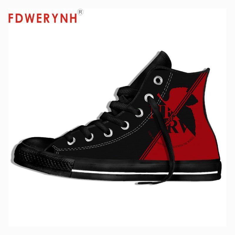 الرجال أحذية المشي قماش EVANGELION المعدنية موسيقى الروك تصميم الفرقة الخاصة بك أحذية خفيفة الوزن للتنفس للمرأة