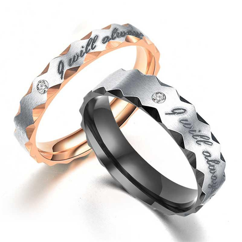 Stainless Steel diamond ring cluster I will always be with you engagement rings for woman mens fashion jewelry