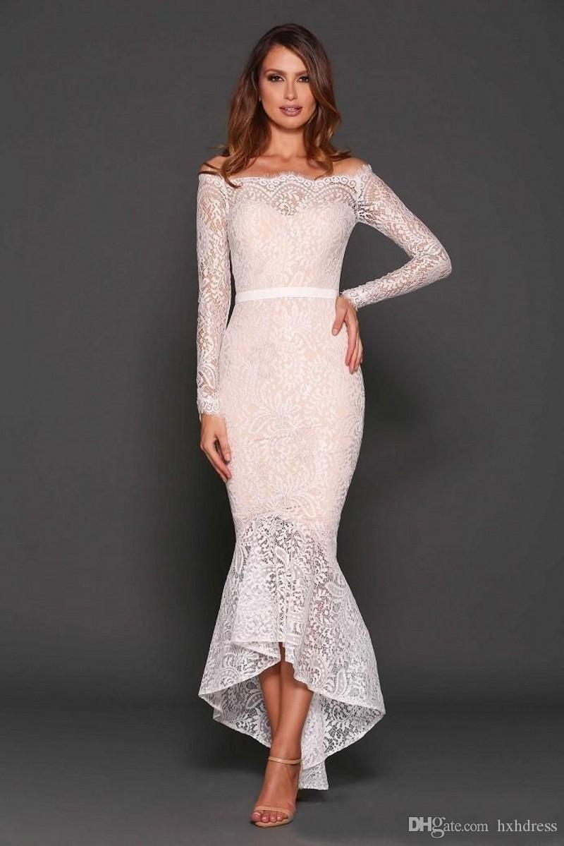 Sexy 2020 New Latest White Lace Off Shoulder Tea Length Cocktail Dresses Vintage Long Sleeve High Low Mermaid Party Formal Gowns 407