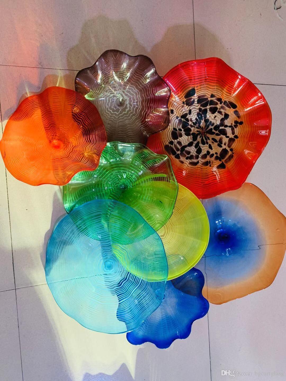 Модный современный Муранский стеклянный подвесной настенный арт Дейл Чихули стиль боросиликатного стекла арт ручной выдувной синий стеклянный цветок настенные светильники