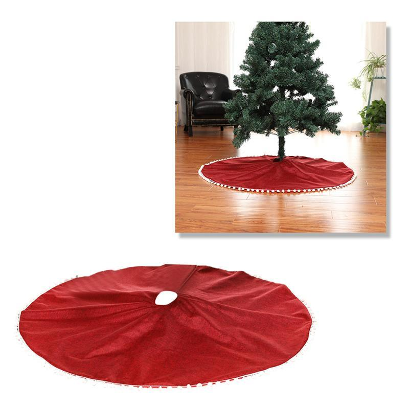 Decor White Ball 127cm Albero di Natale in feltro Gonna Stampa Xmas Tree Decoration Base Grembiule Wrap Navidad partito