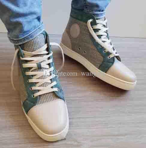 Elegant Designer Sneakers High Top Junior Flats Sapatos Red Bottom Sapatilhas para homens e mulheres Weave couro casual sapatos de caminhada EU35-46