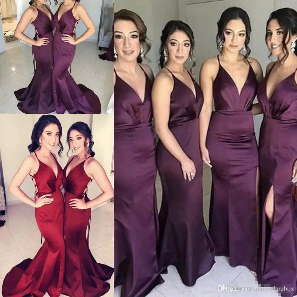 섹시한 V 넥 긴 새틴 인어 분할 신부 들러리 공식 드레스 오픈 백 스파게티 레이스 업 민소매 바닥 길이 새틴 스플릿 전면