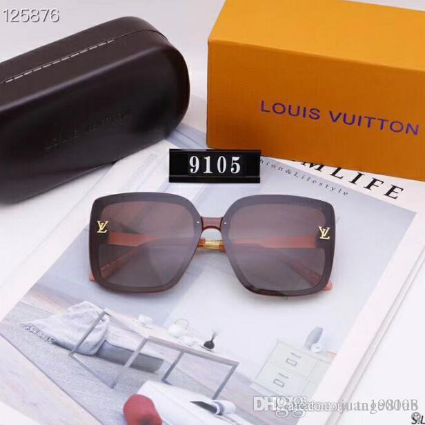 2020 Luxury Fashion Designers Largo Metallo Occhiali da sole per le lenti di vetro Donne Uomini protezione UV Occhiali da sole 06