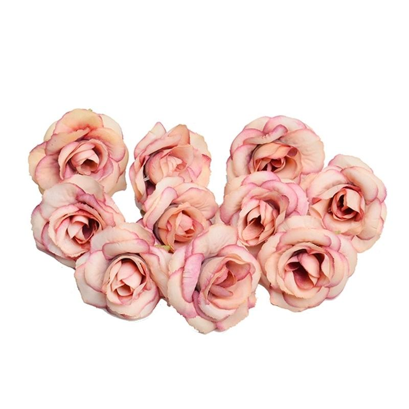 New 10pcs Artificial Flower 4cm Silk Rose Flower Head Wedding Party Home Decoration Diy Wreath Scrapbook Gift Box Craft