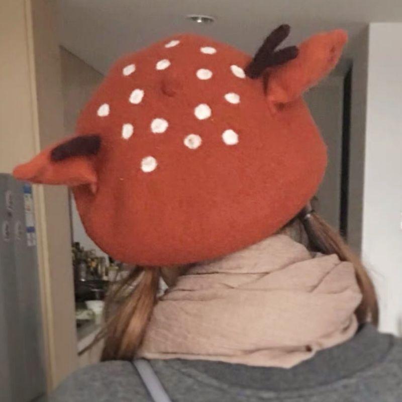 Fashion-donne Beret Cap Natale orecchie sveglie 3D corna di renna Faux Felt Pittore KLV 2019 New Fashion
