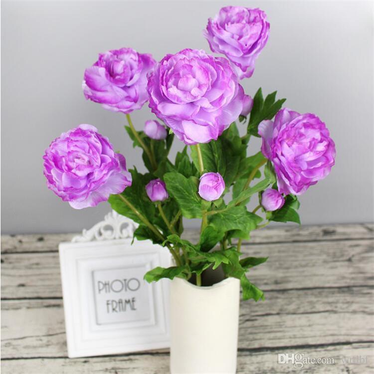 """Tallo corto falso Valentine Rose (2 cabezas / pieza) Camelia de simulación de 21.65 """"de longitud para bodas Flores artificiales decorativas para el hogar"""