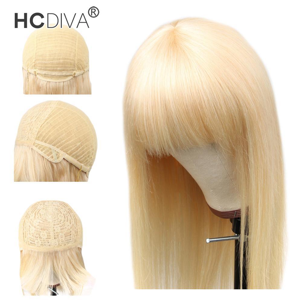 613 Honey Blonde humano pelucas de pelo con flequillo recto brasileño HCDIVA Máquina Bob peluca de Remy Cabello Mujeres completo peluca hecha con la explosión