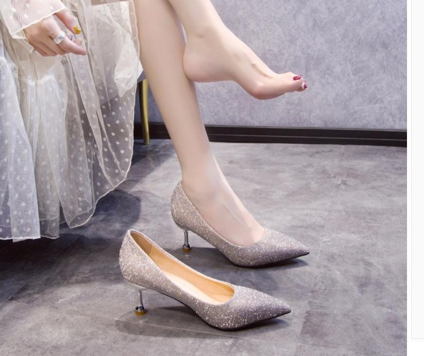2020 весна и осень с новым стилем моды высокий каблук заостренный конец Женская обувь@MQWBH721