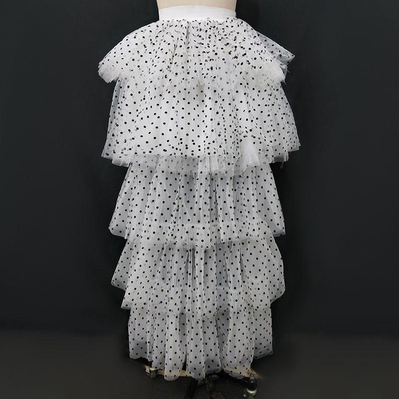 Сексуальная белая юбка для торта черные точки сетка многослойная высокая низкая юбка длинная весна лето новое прибытие 2020 корейская мода 2XL дропшиппинг