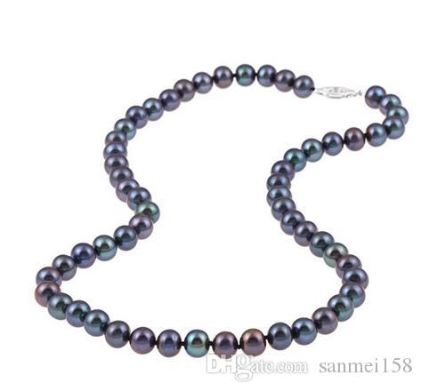 """Mulheres moda jóias 36 """"7.5-8mm colar de pérolas de água doce preto whosale jóias de prata genuína de casamento"""