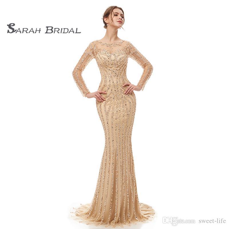 Maxi vestidos de novia elegante largo de la vendimia de las mangas Vestido tubo desgaste Sheer detrás Perlas de cristal de novia vestidos de novia vestido de fiesta de noche de 5405