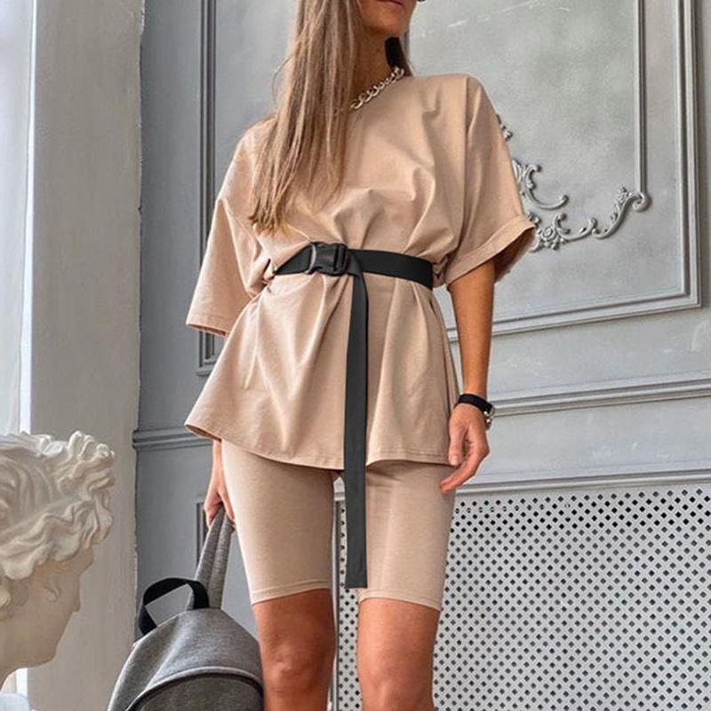 Fashion White Khaki Sexy Women Summer Round Neck Short Sleeve Shirt Tops And Shorts Bodycon Bottom Suit Two Piece Sets Outfit
