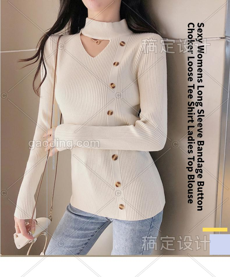 Sexy Womens Long Sleeve Bandage Button Choker Loose Tee Shirt Ladies Top Blouse