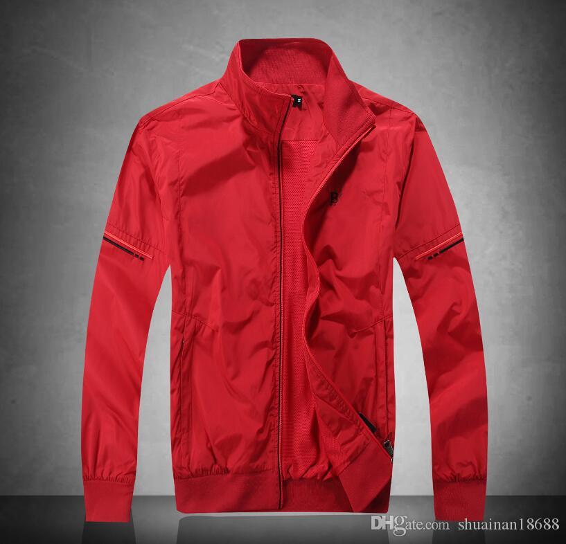 ¡Caliente! chaqueta de los hombres de primavera Nueva collar del soporte del bordado ocasional de gran tamaño chaqueta delgada de béisbol de la chaqueta de manga larga
