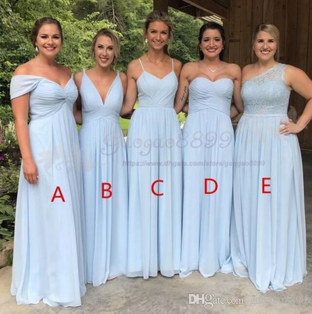 Barato País Vestidos de dama de honor 2019 cinco estilos Chiffon Sweetheart Long Peplum Invitado a la boda Invitación de damas de honor Vestidos de honor robe de soiree