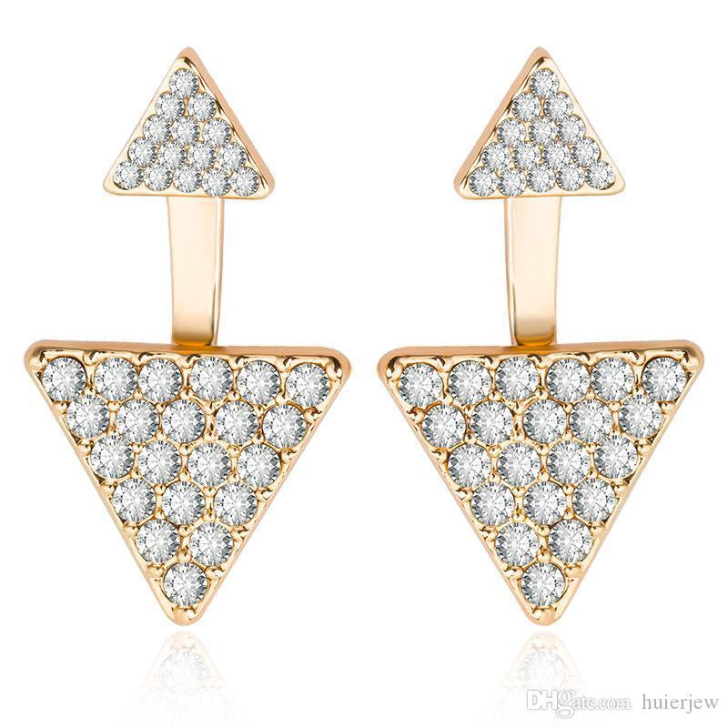 Треугольник Стад серьги женские аксессуары мода большие серьги относительный треугольник серьги треугольник двойной горный хрусталь серьги