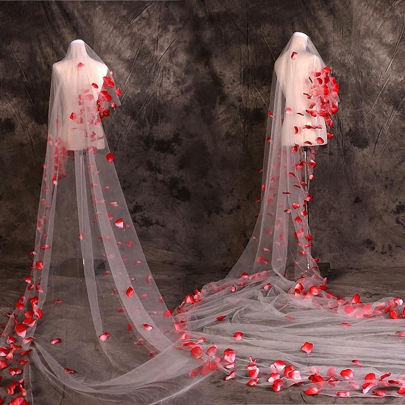 не фата сетки лепестки свадебных аксессуаров обрезных прозрачную сетку шаль аппликация вуаль плащ собор не гребень