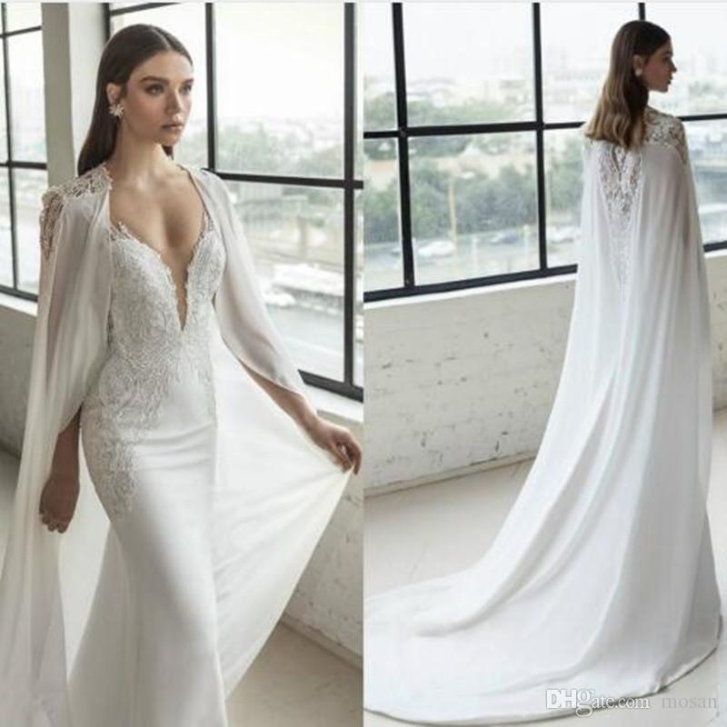 Fashion New Women's Bridal Bolero Shawl Cloak Lace Appliques Chiffon Wedding Cape Jacket Custom Made Long White Ivory Jackets