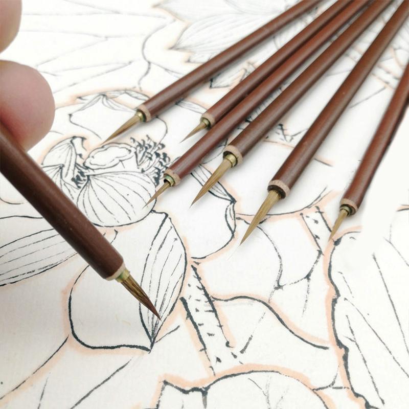 Metal head Hook Line Fine Paint Brush Chinese Calligraphy Brush Pen Paint Brush Art Stationary Oil Painting 3pcs/set X 2set