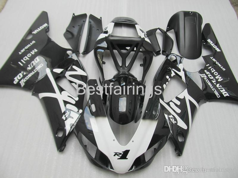 ZXMOTOR 7 gifts fairing kit for YAMAHA R1 1998 1999 white black fairings YZF R1 98 99 HS23
