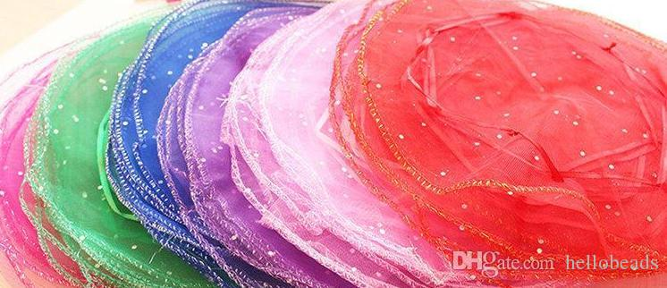 500pcs Circle Diameter:26cm Multi-Color Organza Jewelry Bags Luxury Wedding Voile Gift Bag Drawstring Jewelry Packaging Christmas Gift Pouch