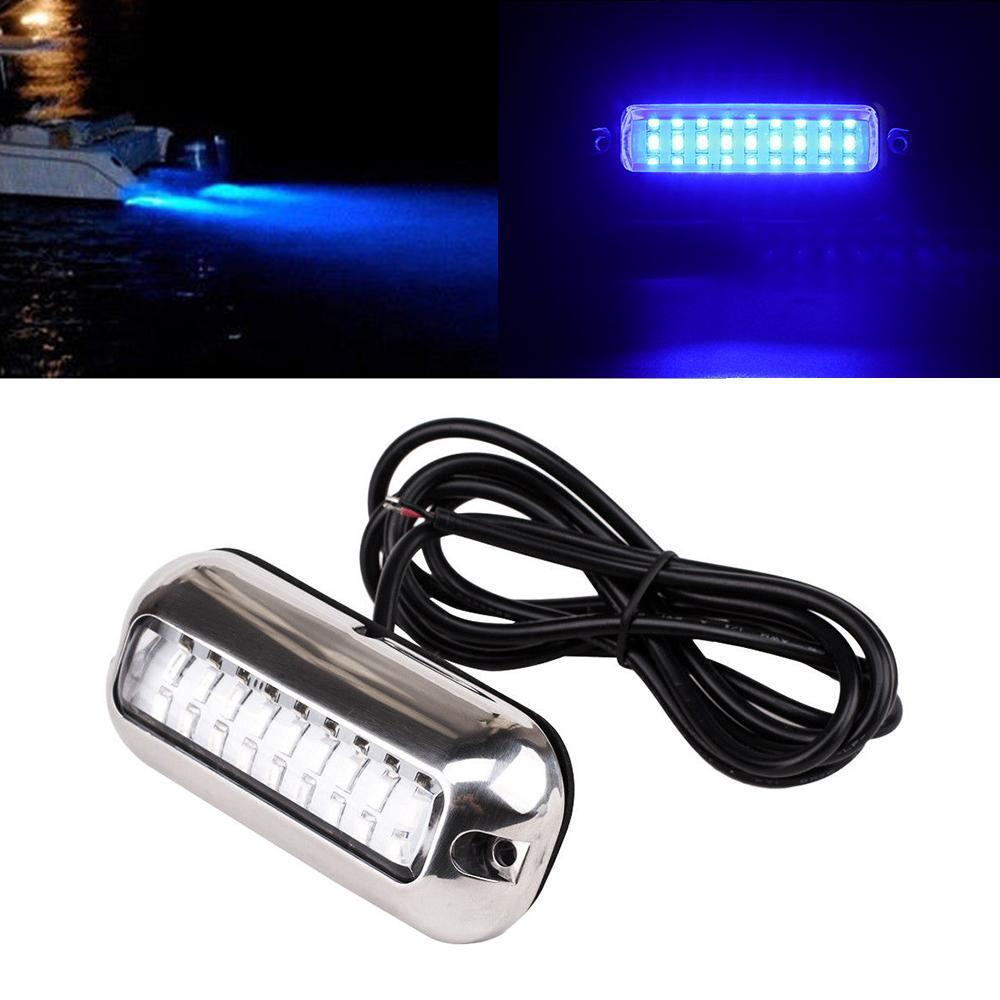 1pc Universal red/green/blue27 LED Marine Stainless Steel Under Water Pontoon Waterproof Boat Transom Light IP68
