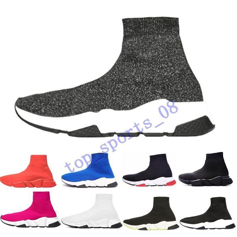 2019 Designer Shoes Speed formateur plate-forme Casual de chaussettes triple rouge Bule hommes blancs de mode plat des femmes de la taille de la mode de sport 36-45