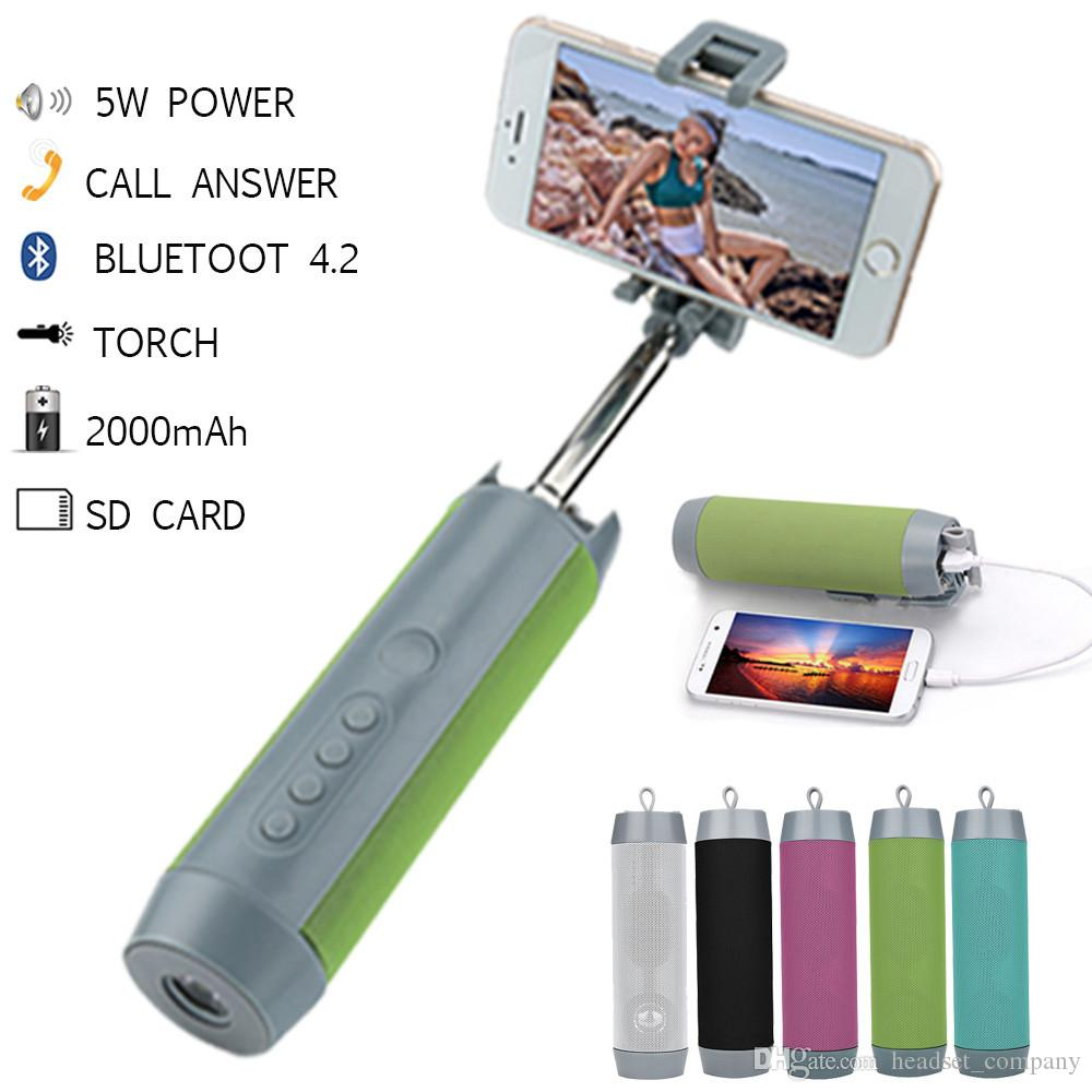 4in1 Stereo Bluetooth Wireless Speakers Portable Mini Selfie Stick Mobile Power
