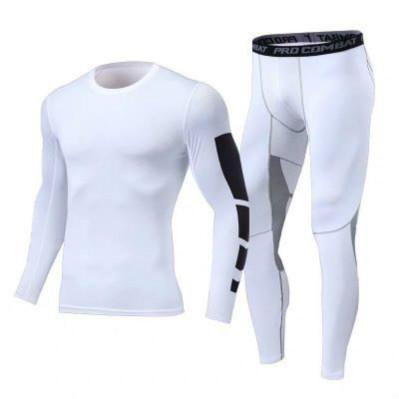 Traje Yoga Diseñador FashionTwo pieza medias de manga larga de los hombres Entrenamiento Ejercicio pantalón de moda de alta elasticidad Venta caliente del chándal