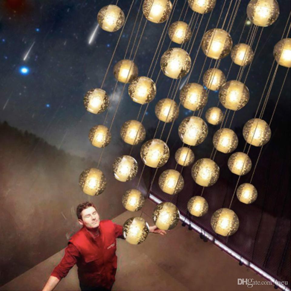 LED Crystal Glass Ball Pendant Meteor Rain Ceiling Light Meteoric Shower Stair Bar Droplight Chandelier Lighting AC110-240V