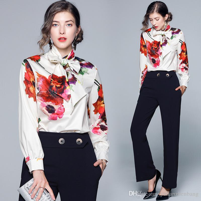 Bufanda de alta calidad Pajarita Cuello Camisas estampadas Primavera Otoño Runway Blusas de manga larga para mujer Office Lady Business Elegante camisa delgada Tops