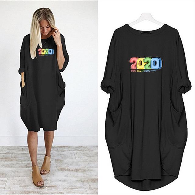 Женщины Летние платья женщин Модельер Сплошной цвет платья 2020 новое прибытие платье письмо Отпечатано с Карманы женщин вскользь платье