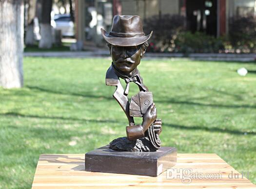 Mágico cartão homem busto cabeça estátua de bronze casa decoração trabalhos de arte presentes