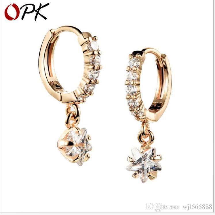 Lady Zircon Stern-Anhänger Ohrringe elektroplattiert 18K Gold koreanische Version Schmuck